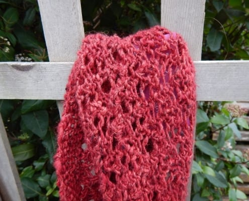 red mohair infinity scarf